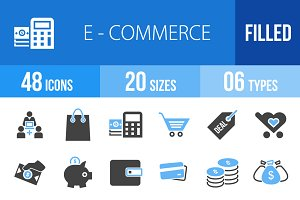 48 Ecommerce Blue & Black Icons