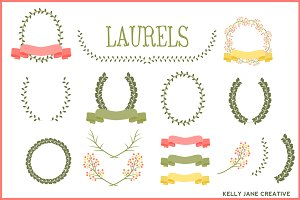 Laurels, Ribbons & Wreaths Vector