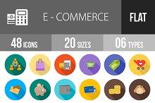 48 Ecommerce Flat Shadowed Icons