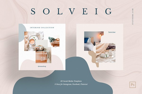 Social Media Templates: Evatheme Market - Solveig Social Media Pack