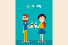 Cute hipsters with coffee