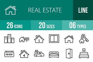 26 Real Estate Line Icons