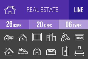 26 Real Estate Line Inverted Icons