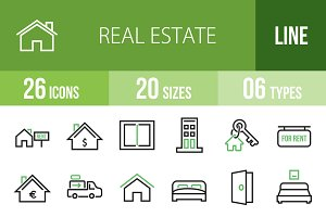 26 Real Estate Green & Black Icons