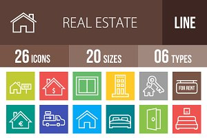 26 Real Estate Line Multicolor Icons