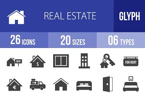 26 Real Estate Glyph Icons