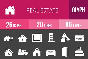26 Real Estate Glyph Inverted Icons