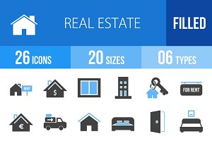 26 Real Estate Blue & Black Icons