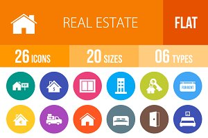 26 Real Estate Flat Round Icons