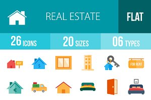 26 Real Estate Flat Multicolor Icons