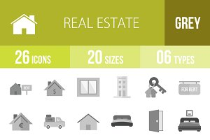 26 Real Estate Greyscale Icons