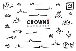 Crowns Emphasis. Vector Icons.