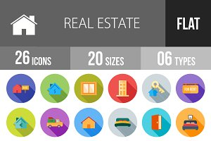 26 Real Estate Flat Shadowed Icons