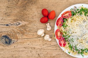 Italian pasta with mushrooms
