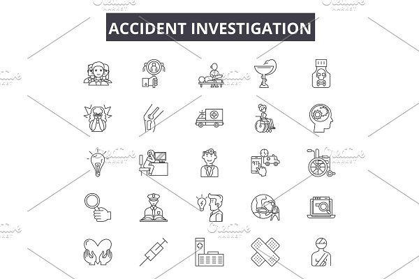 Accident investigation line icons