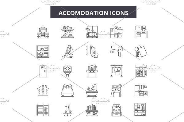 Accomodation line icons. Editable