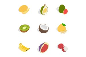 Tropical fruits icons, isometric 3d
