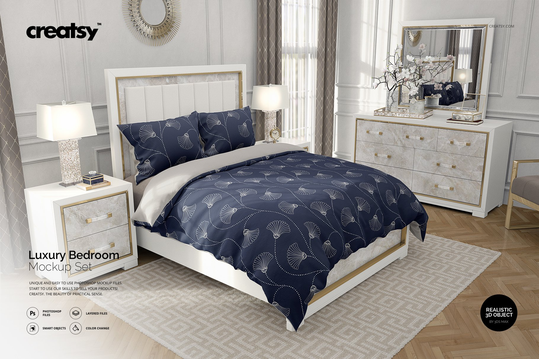 Luxury Bedroom Bedding Mockup Set Creative Photoshop Templates Creative Market