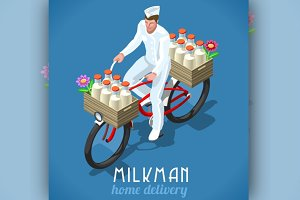 Home Delivery Isometric Milkman