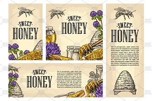 Honey posters engraving
