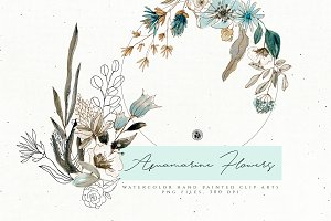 Aquamarine Watercolor Flowers