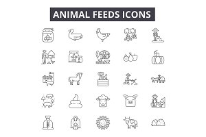 Animal feeds line icons for web and