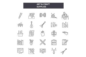 Art & craft supplies line icons for