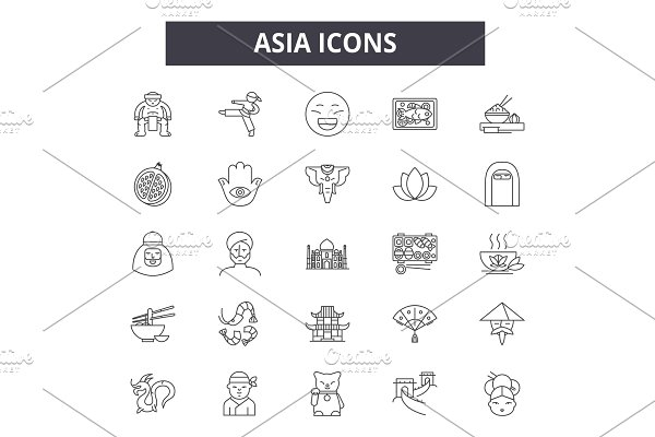 Asia line icons for web and mobile