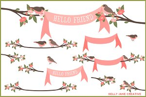 Birds, Branches & Banners Vector