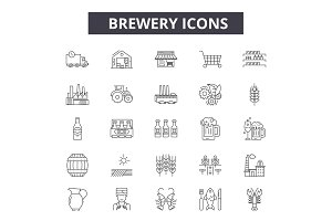 Brewery line icons for web and