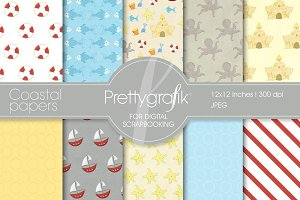 Coastal nautical digital papers