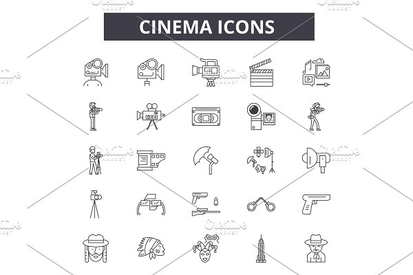Cinema line icons for web and mobile
