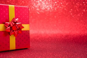 Red gift box with red background