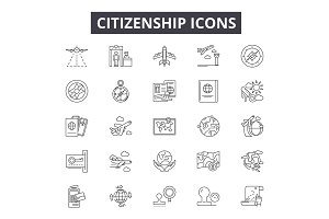Citizenship line icons for web and
