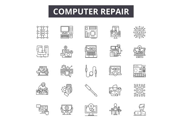 Computer repair line icons for web