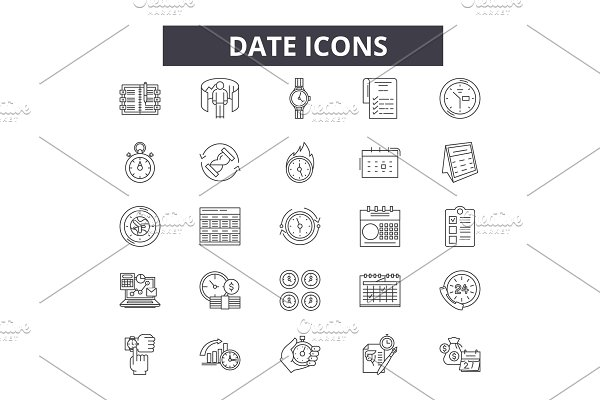 Date line icons for web and mobile