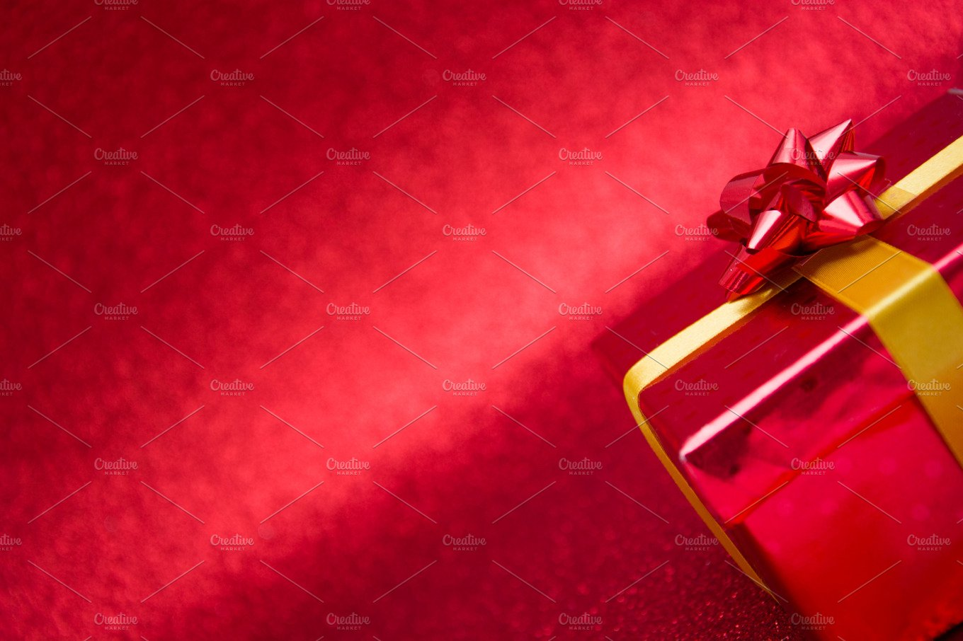 Red gift box with red background holiday photos creative market negle Images