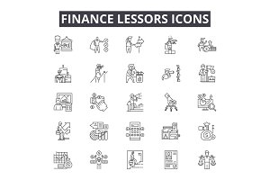 Finance lessors line icons for web