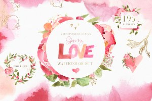Spring Love Watercolor Clipart