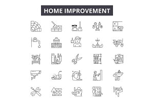 Home improvement line icons for web