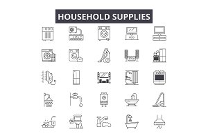 Household supplies line icons for