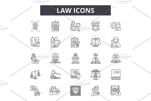 Law icon line icons for web and
