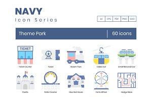 60 Theme Park Icons | Navy Series