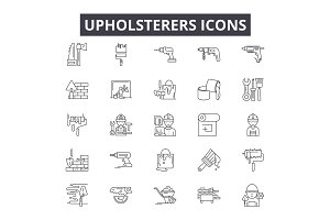 Upholsterers line icons for web and