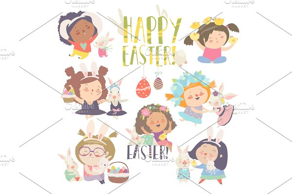 Cute little girls with Easter theme