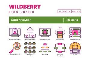 80 Data Analytics Icons   Wildberry