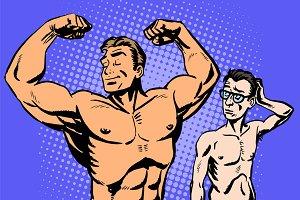 Bodybuilder and thin man sport