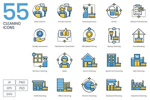 55 Cleaning Icons | Kinetic Series