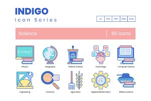 80 Science Icons   Indigo Series