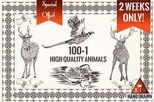 Bundle of engraved animals